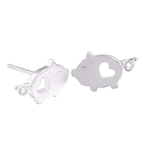 MIXIA Tiny Brushed Cartoon Animal Heart Pig Peace Dove Post Stud Earrings Flying Bird Jewelry (Cute ()