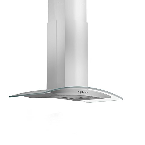 ZLINE 36 in. 400 CFM Island Mount Range Hood in Stainless Steel & Glass ()