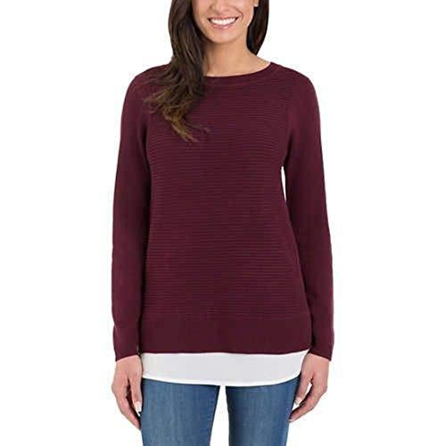 Ladies' Hilary Radley 2fer Sweater Women (S, Wine)