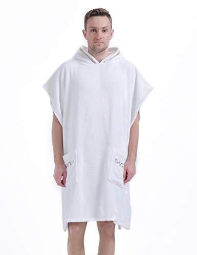Mens Hooded Short Sleeve Robe Knee Length Terry Cotton Bathrobe, White