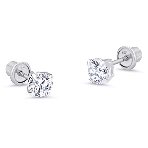 (Sterling Silver Rhodium Plated 4mm Cubic Zirconia Stud Screwback Baby Girls Earrings )