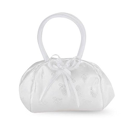 Flower Girl Gifts White Satin Embroided Deluxe Snap Purse with Padded Handles, 9 ()