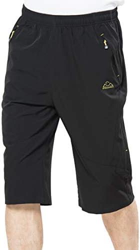Rdruko Men's Outdoor Sports Hiking Cargo Shorts Quick Dry Lightweight Capri 3/4 Cropped Pants