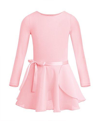 iiniim Girls Kids Long Sleeve Gymnastics Leotard Ballet Dress Shiny Mesh Tutu Skirt