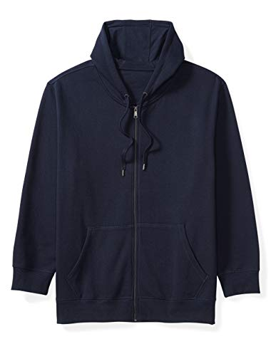 Amazon Essentials Men's Big and Tall Full-Zip Hooded Fleece Sweatshirt fit by DXL, Navy, 4XLT