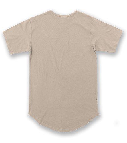 JD Apparel Men's Hipster Longline Drop Cut T-Shirts L Ivory AM1050 by JD Apparel (Image #1)
