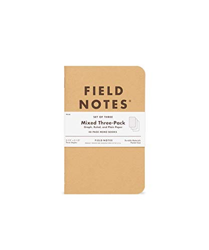 (Field Notes Original Kraft Memo Book 3-Pack - 48-Pages per book (Mixed Paper 3-Pack (1 Graph book, 1 Ruled book, 1 Plain book)))