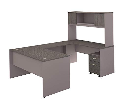 Wood & Style 60W U Shaped Desk with Hutch and Mobile File Cabinet in Cocoa and Pewter Decor Comfy Living Furniture Deluxe Premium Collection ()