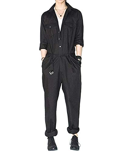 AITFINEISM Mens Romper Coveralls One-Piece Long Sleeve Jumpsuit Casual Overalls (Medium, Black)