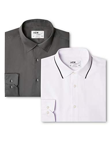 Chemise Pack Fit amp; Slim Seam Hem white Charcoal Homme Contrast 2 Multicolore Collar Black Business With XtCS8wCqnx