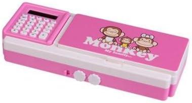 Los niños multifuncional estuche con calculadora contraseña 2 capa Cartoon Mono ABS plástico caja de lápiz caso bloqueo de contraseña lápiz estudiante papelería: Amazon.es: Oficina y papelería