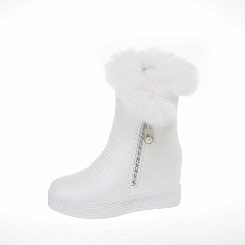Mostrar Zapatillas Shine Mujeres Platform Flats Cuñas Ocultas Botas De Nieve Con Tacón Blanco