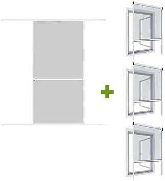 WIP Mosquitera Ultra Bajo de Juego: 1 de aluminio puerta corredera 120 x 240 cm + 3 de aluminio para ventanas (100 x 160 cm blanco/antracita, Blanco: Amazon.es: Bricolaje y herramientas