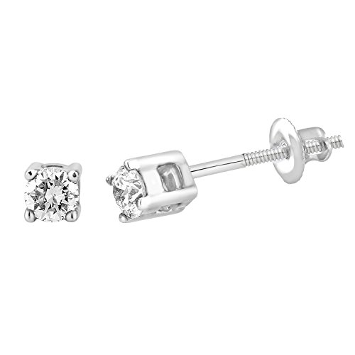 14k Gold Diamond Women Stud Earring (0.05cttw, Color- IJ, Clarity I2/I3) ()