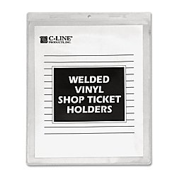 C-Line Vinyl Shop Ticket Holders, Both Sides Clear, 9 x 12 Inches, 50 per Box (80912)