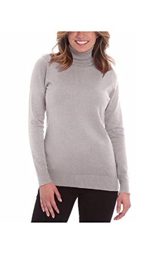 Joseph A. Women's Turtle Neck Long Sleeve Sweater (Large, Light Heather Grey)