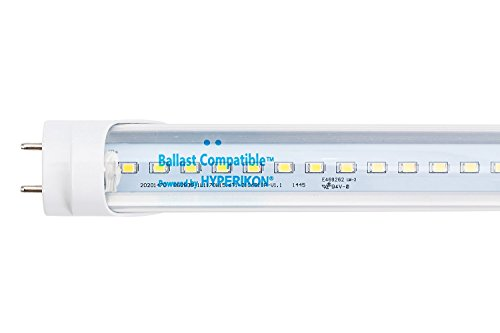 Hyperikon T8 T10 T12 LED Light Tube, 4FT, Dual-End Powered, Easy Ballast Removal Installation, 18W (48W equivalent), 2280 Lumens, 3000K (Warm White), Clear Cover, DLC & UL