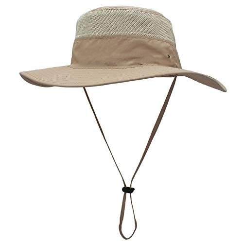 - EONPOW Windproof Fishing Hats UPF50+ UV Protection Sun Cap Outdoor Bucket Mesh Hat 56-61cm Khaki