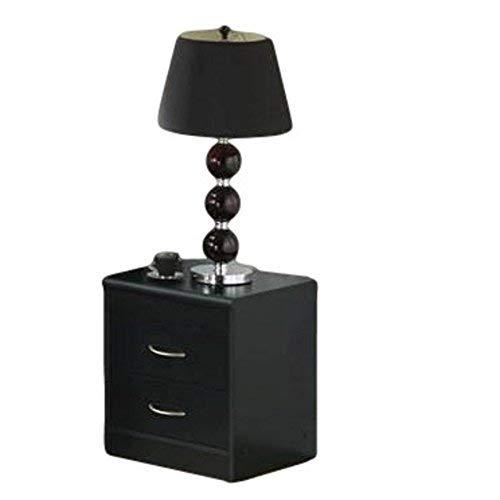 Hodedah 2 Drawer Nightstand, Black