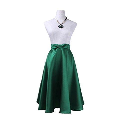 FuweiEncore Jupe des Femmes A-Ligne lgante Jupe Arc Femmes Taille Haute Jupe mi-Longue Swing Jupe Maxi Vert