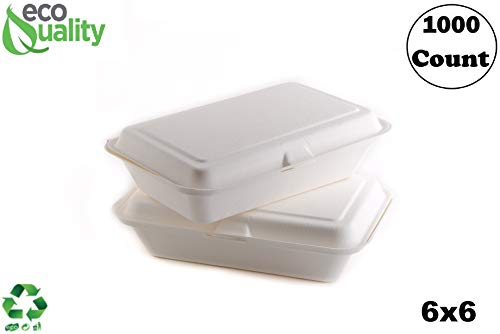 1000 Count - Biodegradable 6x6 Take Out Food Containers with Clamshell Hinged Lid - Eco Friendly Sugarcane Bagasse 100% Compostable, Recyclable, Togo, Restaurant Carry Out, Party Take Home Boxes