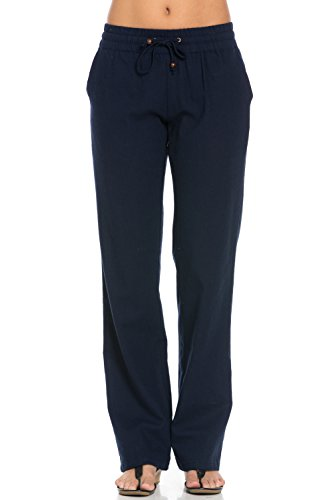 Poplooks Women's Comfy Drawstring Linen Pants Long Navy Large PL -