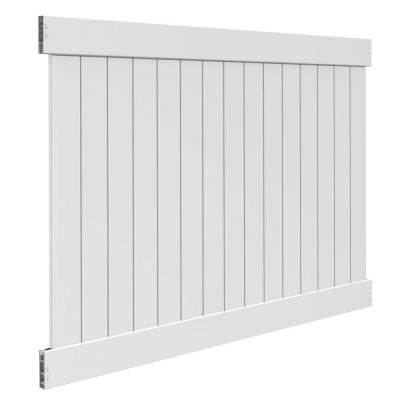 White Vinyl Linden Pro Privacy Fence Panel Kit (Common: 6 ft. x 8 ft; Actual: 72.5 in. x 94.25 in.)