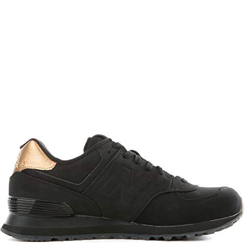 New Balance Women's 574 Molten Metal Pack Fashion Sneaker, Black/Gold, 5 B US