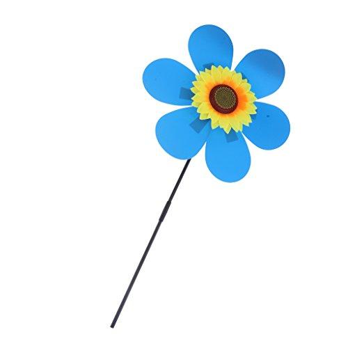 (Baoblaze Garden Windmill Large Sun Flowers Bright Colored Patio Indoor Outdoor Decor - Blue)