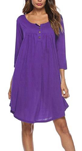 Loose Pleat Casual Jaycargogo Womens 3 Sleeve Dress Purple 4 Button Midi Twxp7Oq