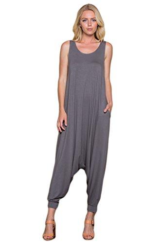 Harem Pants Jumpsuit - Annabelle Women's Comfy Rayon Solid Color Sleeveless Harem Jumpsuits Slate Grey 3X-Large J8004X