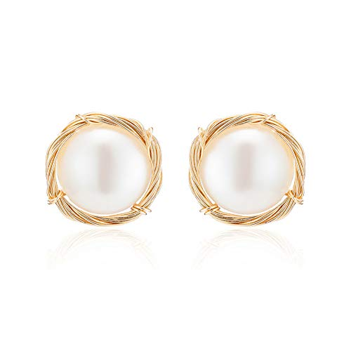 MIDE Pearl Stud Earrings for Women 14k Gold, Sterling Silver Studs Earring, Womens Bridesmaid Jewelry Real Freshwater Pearls (Gold 14k Baroque Pearl)