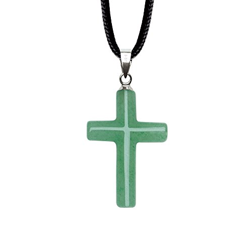 iSTONE Unisex Natural Gemstone Green Jade Aventurine Cross Pendant Necklace Black Rope Chain 16 inch