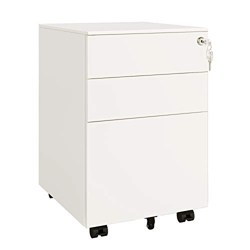 DEVAISE 3 Drawer Mobile File Cabinet, Lockable Metal Filing Cabinet for Legal/Letter/A4 Size, Fully Assembled Except Wheels, White
