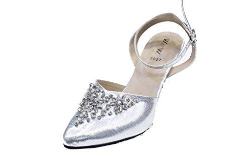 Wear & Walk UK W&W Womens Ladies Evening Prom Party Stiletto Heel Court Shoes Sandals (SAN3007N) Silver aIkUSq4SJP
