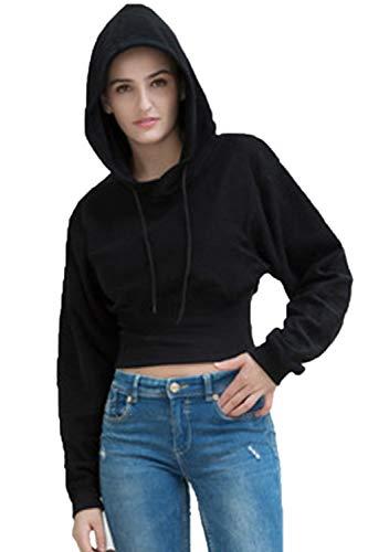 Décontracté Longues Noir Hoodies Femme Manches Automne Zinmuwa Top Crop qxHzPx6w