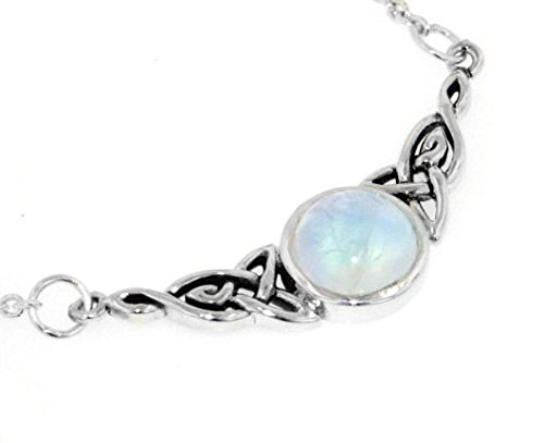 Sterling Silver Celtic Knot Rainbow Moonstone Adjustable Eternity - Moonstone Rainbow Necklace