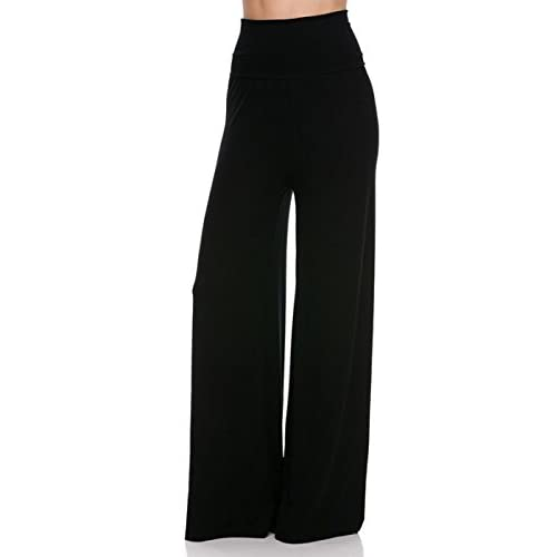 Discount 2LUV Plus Women's High Waisted Plus Palazzo Pants Black 3XL (B1098M) for sale