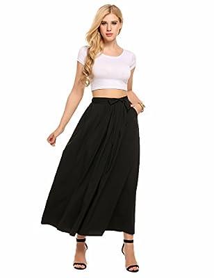 Zeagoo Women's Elastic Stretchy Waistband Lightweight Length Maxi Skirt