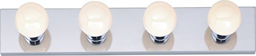 Four Light Vanity Strip, Polished Chrome, 24-Inch AND 8 FT. White Lamp -