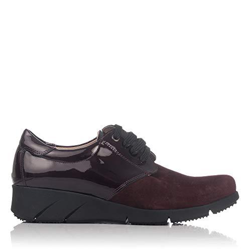 Combi Zapato Cordones LINCE Piel Burdeos Mujer 88759 HZwH6cqI