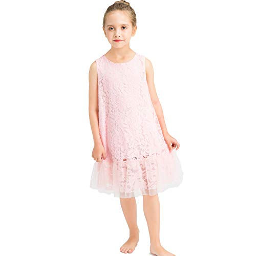 Price comparison product image HCABL Girls Lace Dress, Summer Tulle Sleeveless Ruffle Casual Dress Wedding Party 2-12T