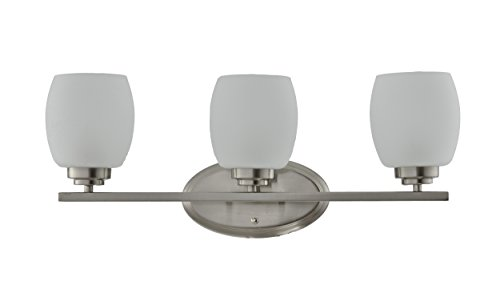 IN HOME 3-Light VANITY/BATHROOM FIXTURE VF38, Brushed Nickel Finish with Satin Etched Glass Shade, UL (3 Light Bathroom Fixture)
