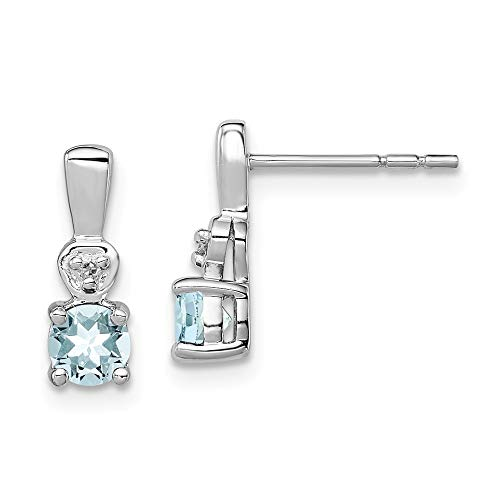 925 Sterling Silver Diamond Blue Aquamarine Post Stud Earrings Drop Dangle Birthstone March Fine Jewelry Gifts For Women For Her ()