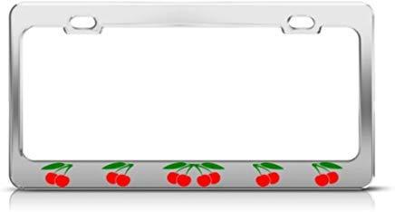 AUdddflsicenshf Cherries Cherry License Plate Frame Stainless Metal Tag Holder