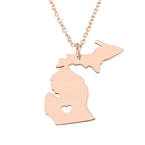MJartoria Rose Gold Color Stainless Steel Michigan State Map Pendant Necklace with a Heart