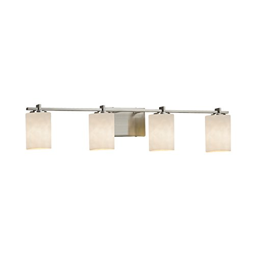 Justice Design Group Lighting CLD-8444-10-NCKL-LED4-2800 Era LED 4-Light Bath Bar-Brushed Nickel Finish with Clouds Cylinder with Flat Rim Shade (Cloud Light Nickel Four Bath)