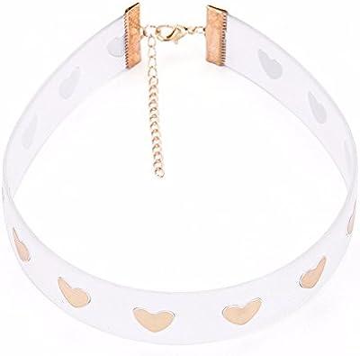 QXLDM Collar de la joyería de Las Mujeres Plástico Transparente Corto Collar Amor Mujer Collar