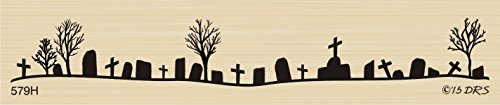 Silhouette Grave Yard Rubber Stamp By DRS Designs -