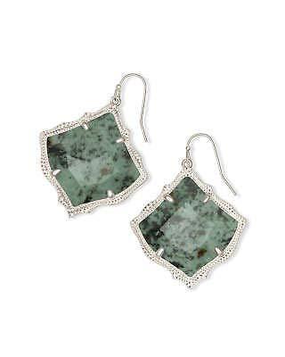 Kendra Scott Kirsten Rhodium African Turquoise Stone Jasper Drop Earring